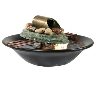 Sunnydaze Soothing Balance Slate Tabletop Water Fountain with LED Light, 7 Inch Tall