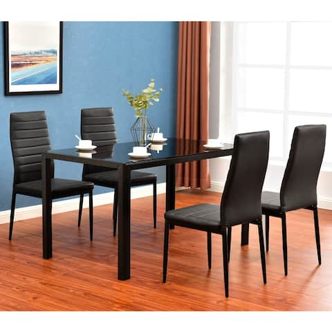 Home Simple Assembled Tempered Glass & Iron Dinner Table