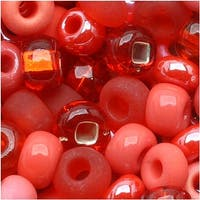 Czech Seed Beads 6/0 Coral Reflections Mix Lot Red Pink