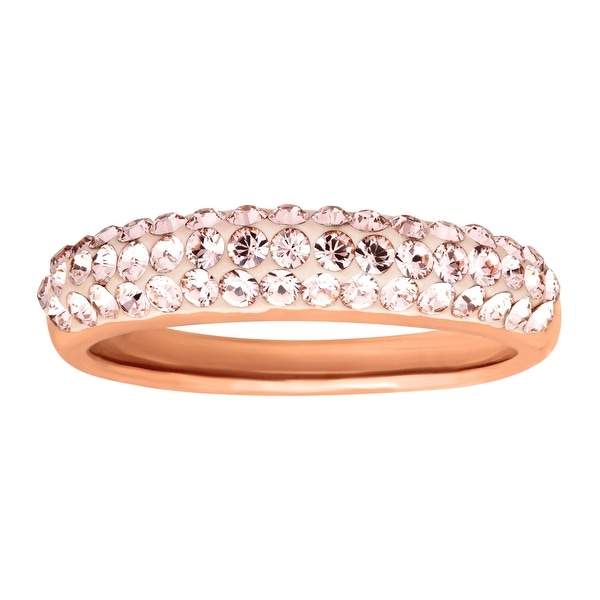 Crystaluxe Band Ring with Vintage Rose Swarovski Elements Crystals in 14K Rose Gold-Plated Sterling Silver -