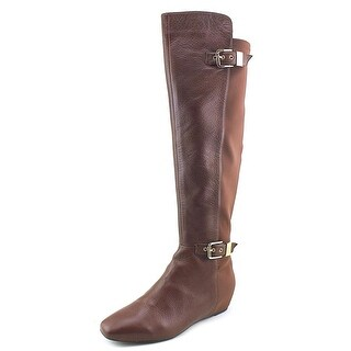 Nina Floriane Women Square Toe Leather Brown Knee High Boot