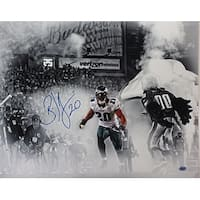 Brian Dawkins signed Philadelphia Eagles 16x20 Spotlight Photo 20 horizontalwhite jerseysmoketunnel