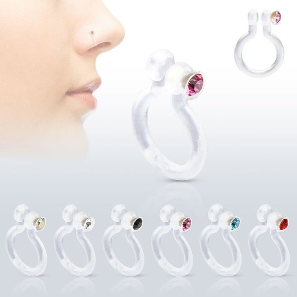 Bio-Flex Fake Nose Ring with CZ (Sold Ind.)
