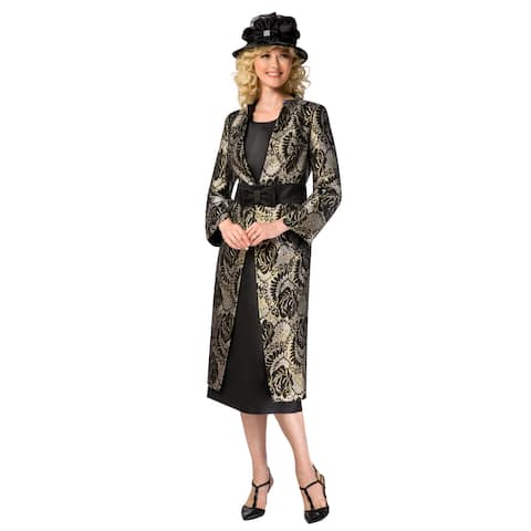 Giovanna Collection Women's 3-pc Brocade Long Coat Skirt Suit