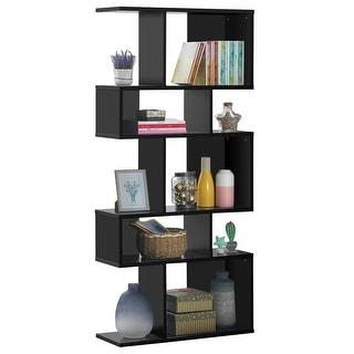 5 Cubes Ladder Shelf Corner Bookshelf Display Rack Bookcase-Black