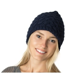 Winter Basket Weave Knit Beanie Hat