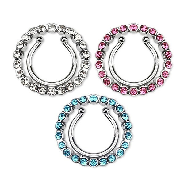 Circle w/ Multi Paved Gem Clip On Nipple Ring (Sold Individually)