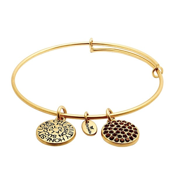 Chrysalis Expandable January Bangle Bracelet with Burgundy Swarovski Crystals in 14K Gold-Plated Brass - Red
