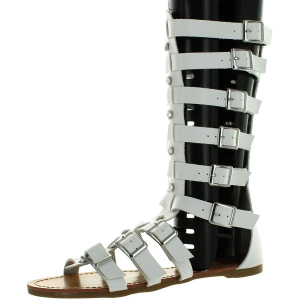 Wild Diva Lounge Womens Jade-01 White Faux Leather Rhinestone Gladiator Sandal - White PU