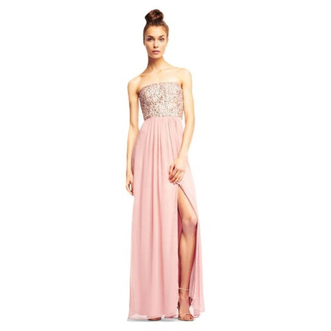 Aidan Mattox Strapless Georgette Dress with Beaded Bodice