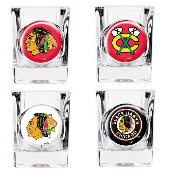 Chicago Blackhawks 4pc Collector's Shot Glass Set