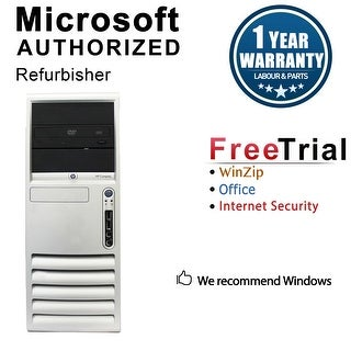 HP DC7700 Computer Tower Intel Core 2 Duo E6300 1.86G 2GB DDR2 80G Windows 10 Home 1 Year Warranty (Refurbished) - Silver