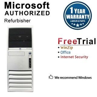 HP DC7700 Computer Tower Intel Core 2 Duo E6300 1.86G 4GB DDR2 160G Windows 10 Home 1 Year Warranty (Refurbished) - Silver