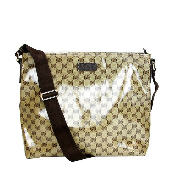 c9822ab68ea Gucci Unisex Brown Crystal Canvas GG Messenger Bag 339569 9790 - One size