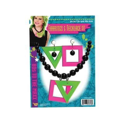 80's Neon Earrings and Necklace Costume Accessory Kit - One-Size: Regular
