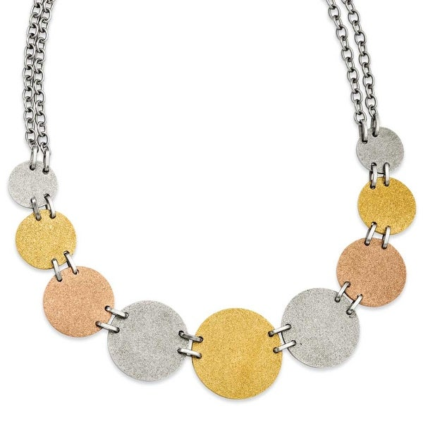 Stainless Steel Tri-Color Plated Discs 20in Necklace (4 mm) - 20 in