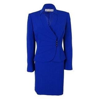 Tahari Women's Carolina Asymmetrical Jacket Skirt Suit - Royal