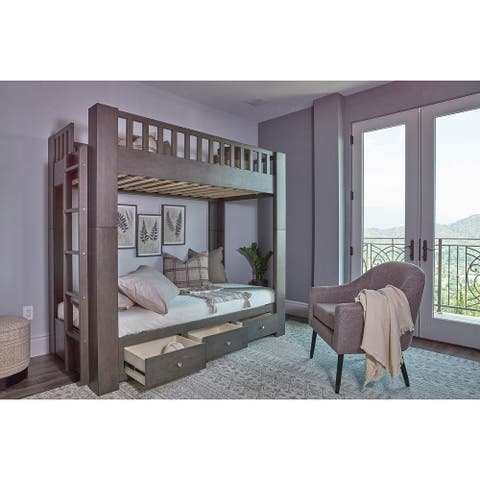 Taswell Antique Grey Twin Over Twin Bunk Bed