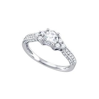 1 Ct Diamond 3/4Ct Center Round Bridal Engagement Ring 14K White-Gold