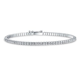 Bling Jewelry 925 Silver Skinny Tennis Bracelet Square Cut Clear CZ 7in