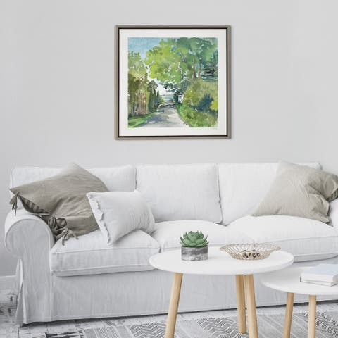 Kate and Laurel Sylvie The Lane and Sea Framed Canvas by Patricia Shaw