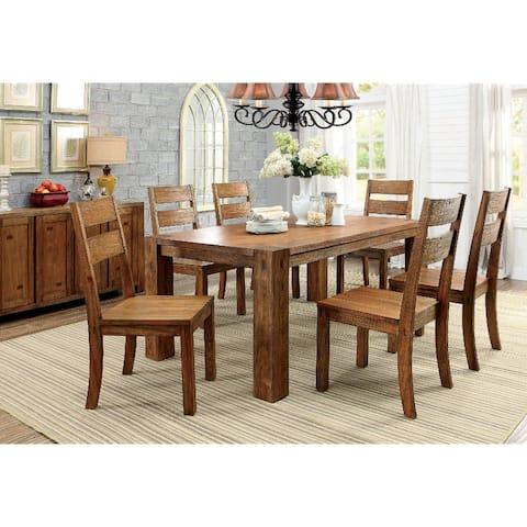 7 Piece Wooden Dining Set in Dark Oak Finish