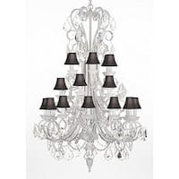 White Wrought Iron & Crystal Chandelier Lighting With Shades