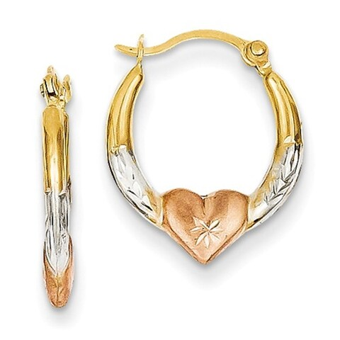 14K Tri-Colored Gold 3mm Madi K Heart Hoop Earrings
