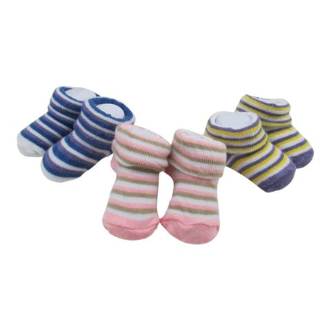 Baby Girls Multi Color Striped Pattern 3 Pairs Assorted Socks