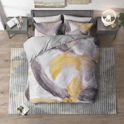 CosmoLiving Andie Grey/ Yellow Cotton Printed Duvet Cover Set
