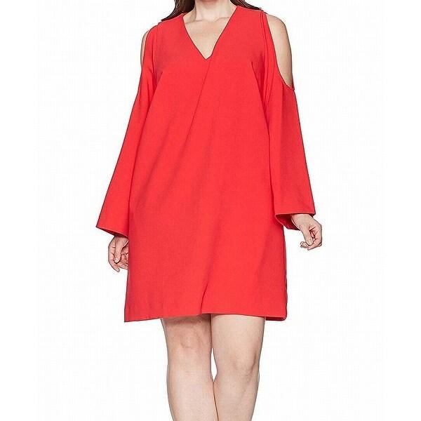 RACHEL RACHEL ROY Cherry Red Womens Size 2X Plus V Neck Shift Dress
