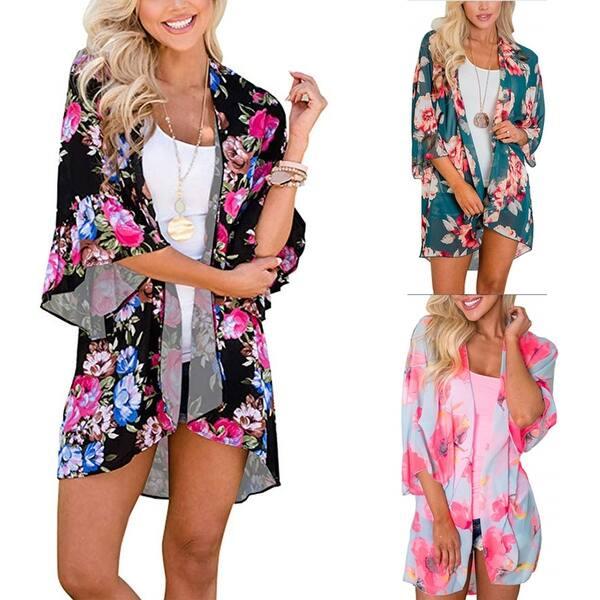 c02ab006f73 Women's Floral Print Shawl Chiffon Kimono Casual Loose Fit Cardigan