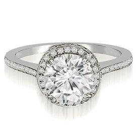 1.50 cttw. 14K White Gold Double Halo Round Cut Diamond Engagement Ring