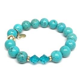 Turquoise Magnesite 'Paris' Stretch Bracelet, Swarovski Crystal 14k over Sterling Silver