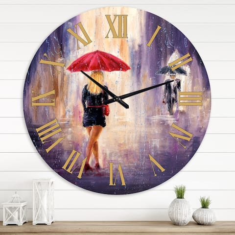 Designart 'Lady With Red Umbrella Walking in The Rain' Traditional wall clock