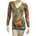 Women's V-Neck Longs Sleeve Camo Shirt Authentic True Timber Top Hunting - Thumbnail 5