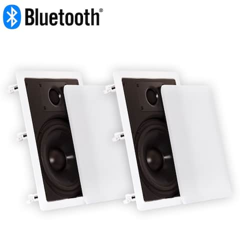 "Theater Solutions CS8W Bluetooth 8"" Flush Mount In Wall Powered Speaker Pair"