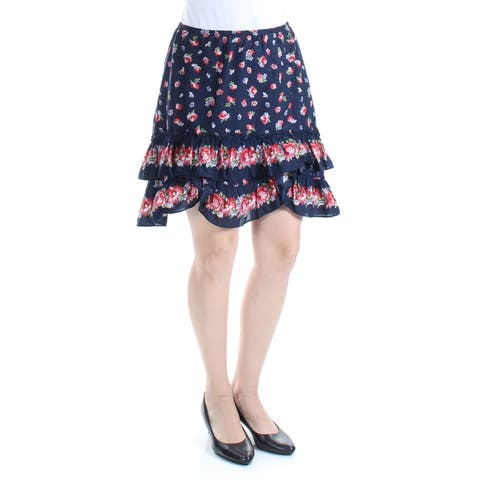 MAX STUDIO Womens Navy Floral Mini A-Line Skirt Size: S