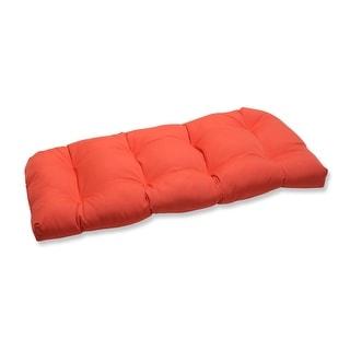 "44"" Summer Melon Orange Outdoor Patio Wicker Loveseat Cushion"