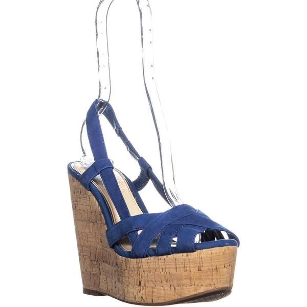 2c5c626d16 Jessica Simpson Westt Peep Toe Wedge Sandals, Jena Blue - 8.5 us / 38.5 eu