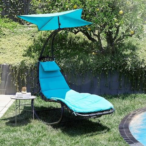 BELLEZE Outdoor Lounge Chair Swing Cushion Seat Hammock Canopy - standard