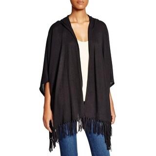 Moon & Meadow Womens Cardigan Sweater Fringe Hooded - o/s