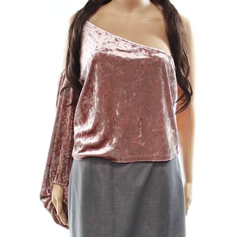 Leith Women's Small One-Shoulder Crushed Velvet Blouse