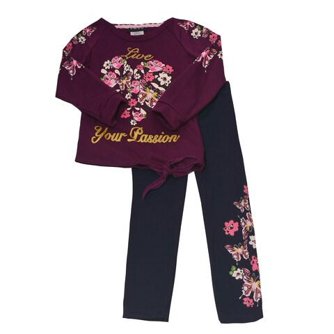 "Girls Berry Floral Butterfly ""Live Your Passion"" 2 Pc Pant Outfit"