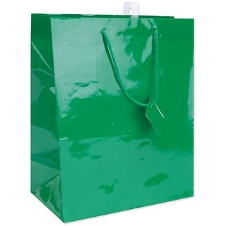 "Solid Glossy Gift Bags 10.5""X12.5"" 4/Pkg-Primary - 3 Each Of 4 Colors"