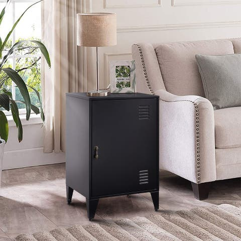 Merax Metal Nightstands End Side Table Cabinet with 1 Door