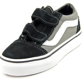 Vans Old Skool V Youth Round Toe Canvas Black Fashion Sneakers