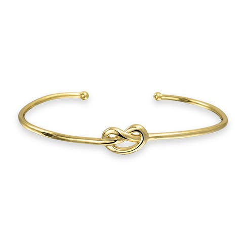 Thin Love Knot Cuff Bracelet Stackable For Women For Girlfriend Polished 14K Gold Plated 925 Sterling Silver
