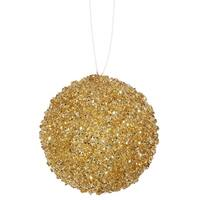 "4ct Sparkling Gold Sequin and Glitter Drenched Christmas Ball Ornaments 4"" (100mm)"