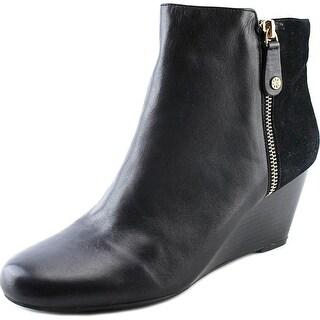 Isaac Mizrahi Kierra Women Round Toe Leather Black Bootie